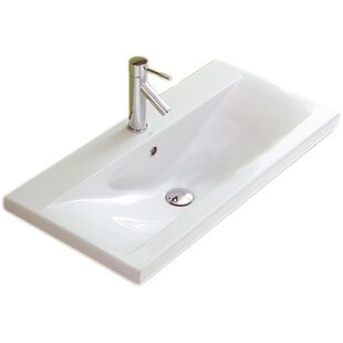 Reviews Clever Ceramic 39 Wall Mount Bathroom Sink with Overflow By Althea by Nameeks