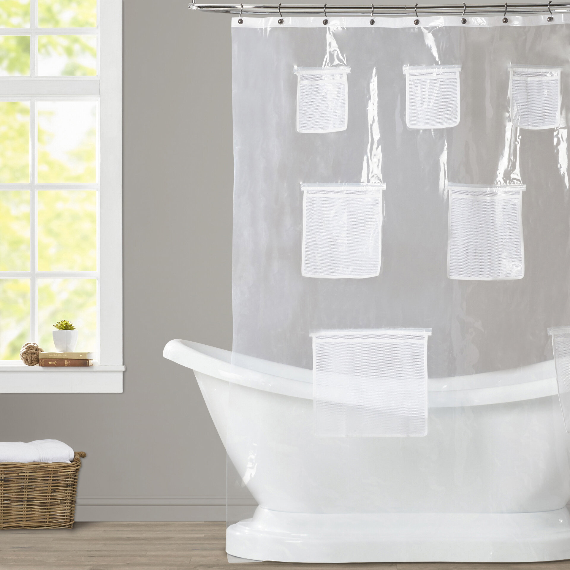 Beachcrest Home Weatherton Mesh Pockets Vinyl Shower Curtain ...