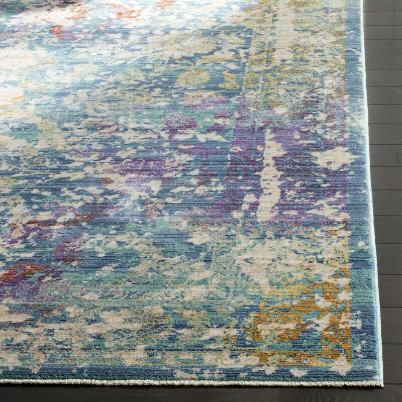 Bungalow Rose Justine Abstract Green/Beige/Purple Area Rug