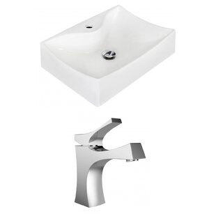 Look for Above Counter Ceramic Rectangular Vessel Bathroom Sink with Faucet ByRoyal Purple Bath Kitchen