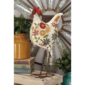 Multi-colored Metal Rooster Figurine