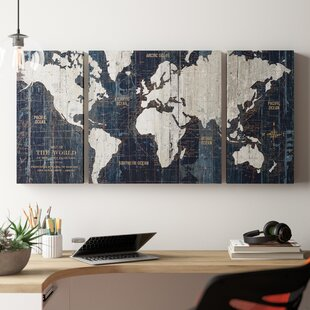 Old World Map Blue Framed Graphic Art Print On Wrapped Canvas Set Of 3