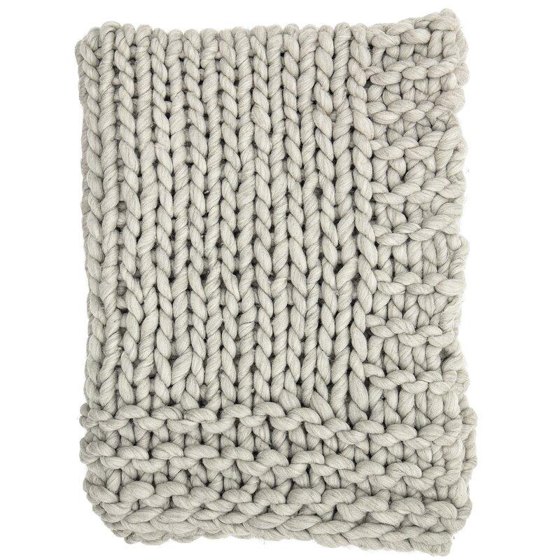 Clotilde Chunky Blend Knit Wool Throw
