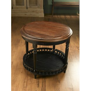 Round Plank Top End Table