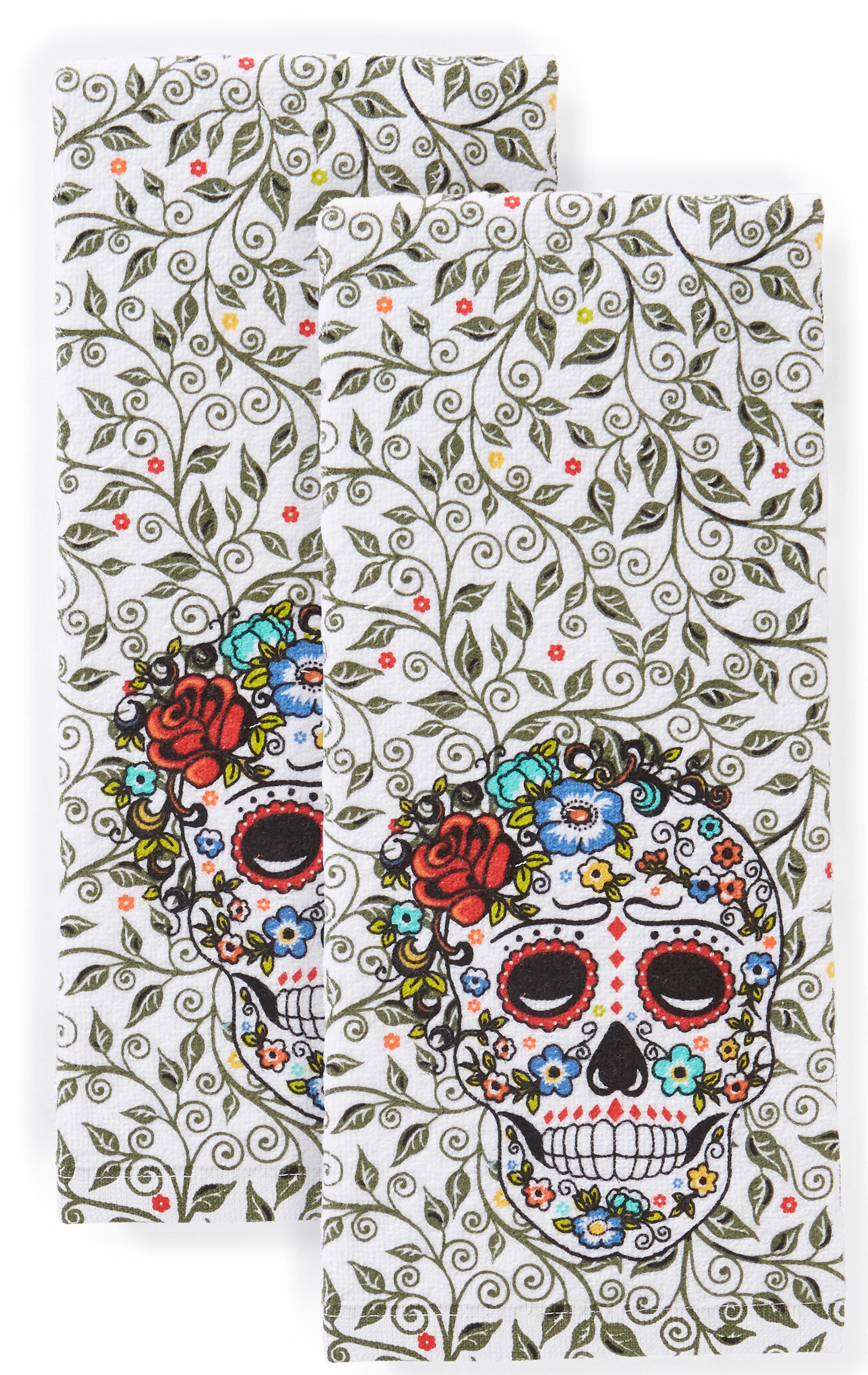 Fiesta Skull And Vine Tea Towel