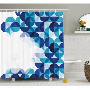 Grafton Modern White Circles Single Shower Curtain