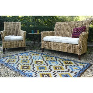Patterson Royal Blue/Chocolate Brown Indoor/Outdoor Area Rug
