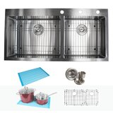 """CozyBlock 43"""" L x 21.5"""" W Double Basin Drop-In Kitchen Sink With Accessories"""