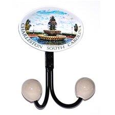 Charleston Fountain Glass Inlay Double Hook by Charleston Knob Company
