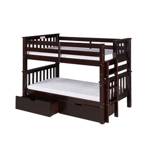 Lindy Mission Twin over Twin Bunk Bed with Storage
