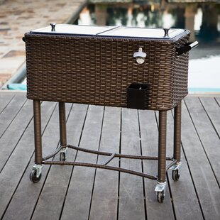 80 Qt. Wicker Patio Rolling Cooler by Permasteel