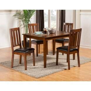 Wilke Rubberwood 5 Piece Solid Wood Dining Set by Millwood Pines Fresh