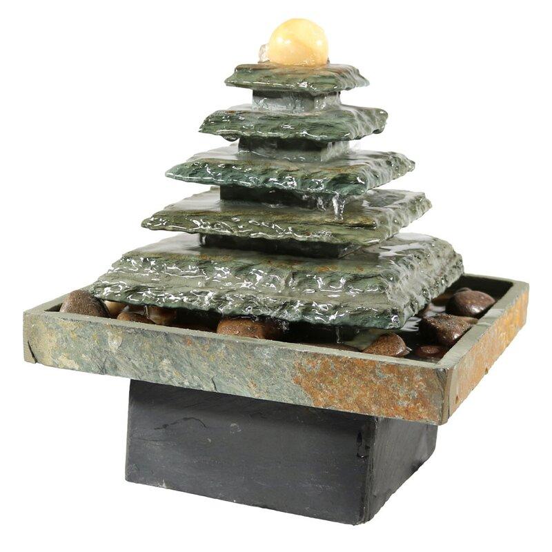 Slate Pyramid Tabletop Water Fountain