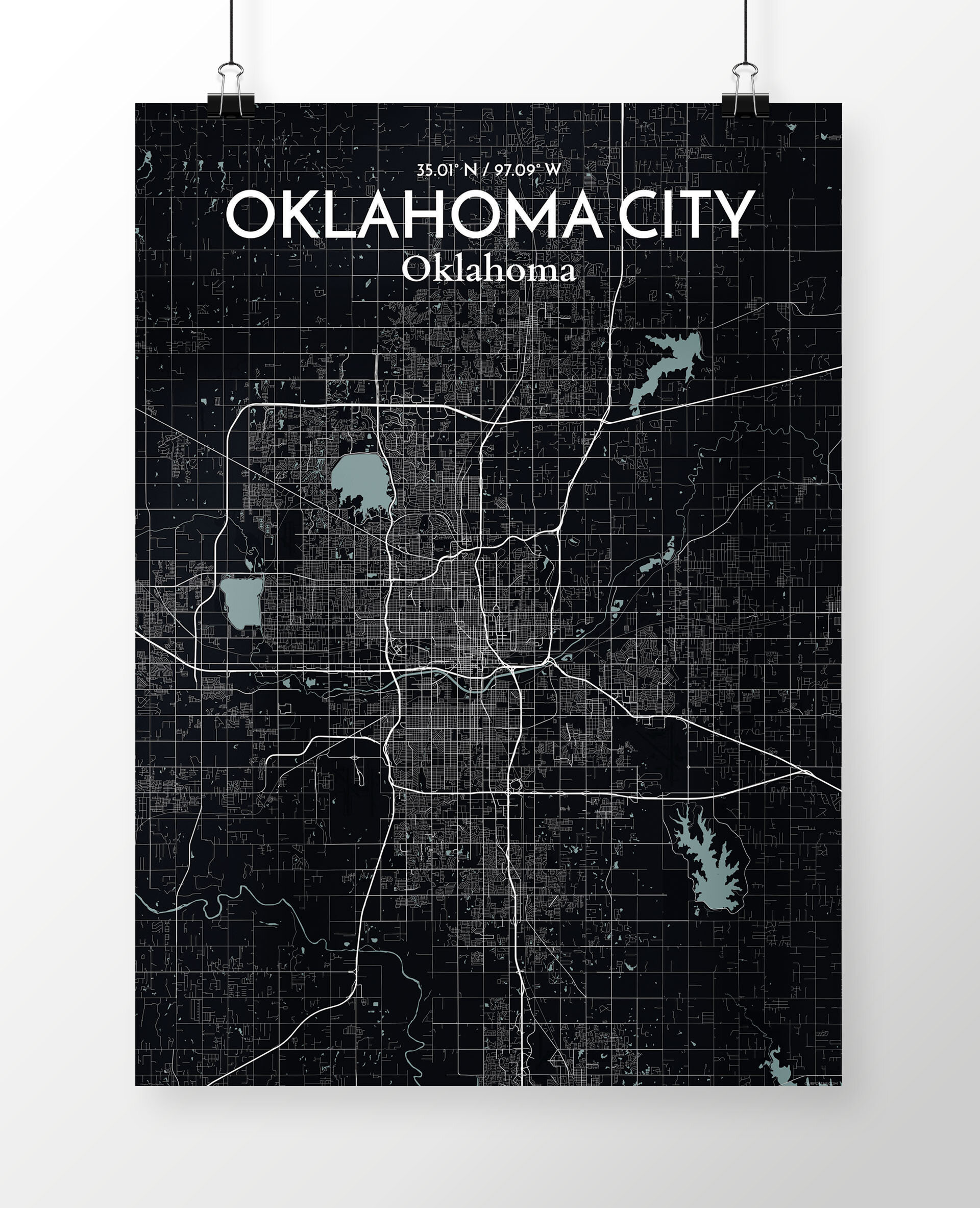 1fc3c62d0ab Williston Forge Oklahoma City City Map  Graphic Art Print Poster in Black