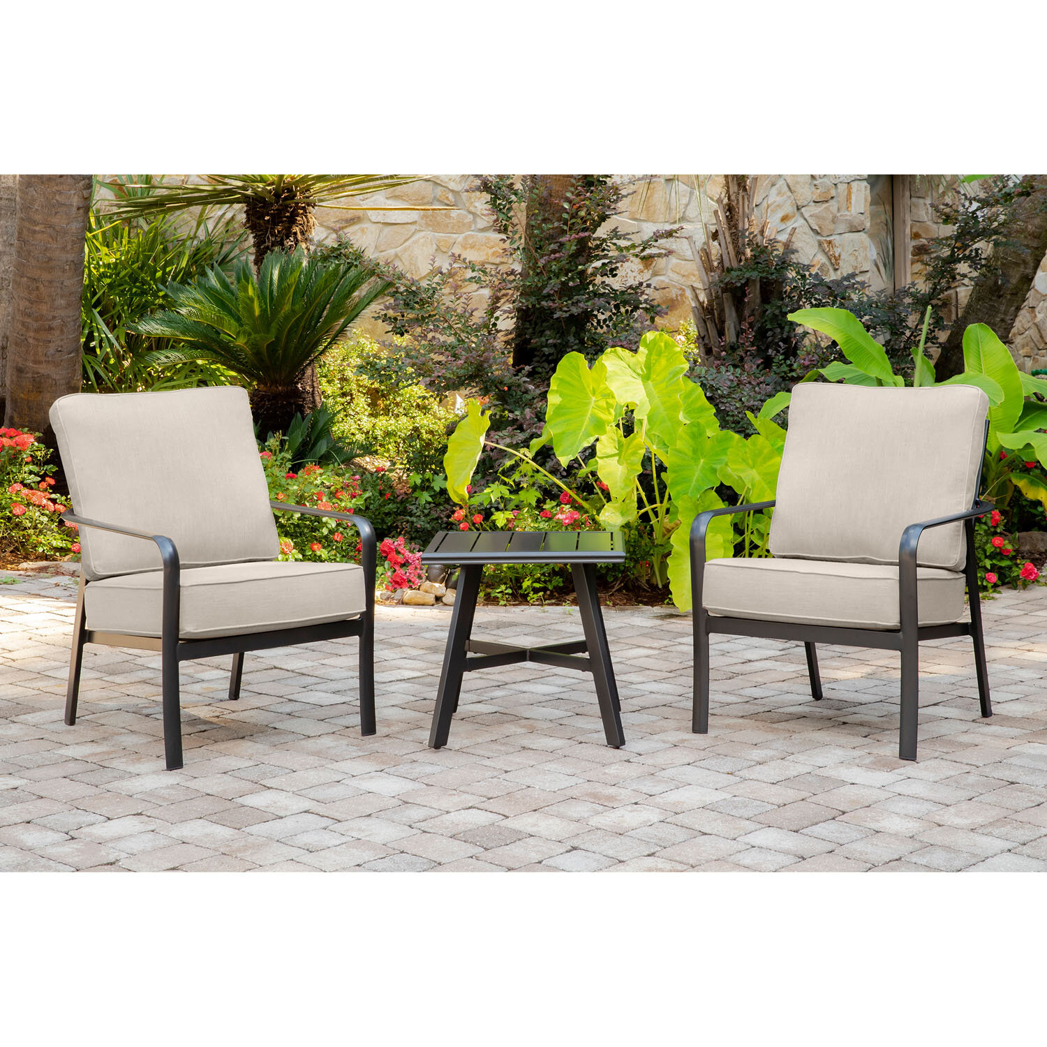 Gracie Oaks Colson 3-Piece Commercial-Grade Patio Seating Set with