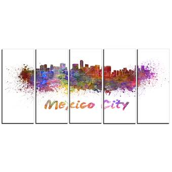 Designart Salt Lake City Skyline Cityscape Painting Print On Wrapped Canvas Wayfair
