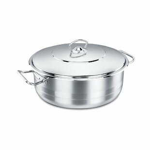 Korkmaz Shallow Stainless Steel Round Dutch Oven with Lid