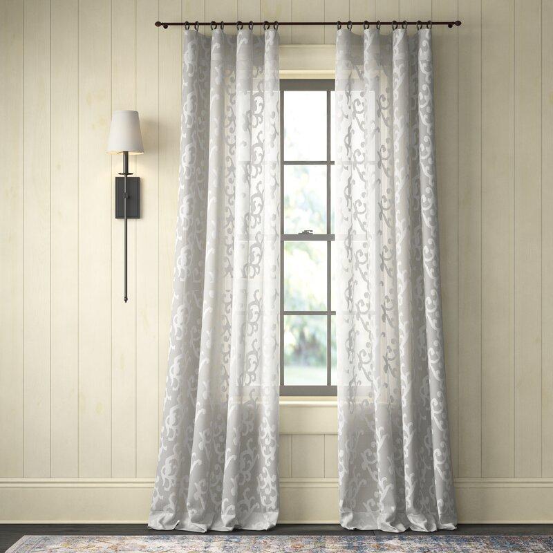Brookland Patterned Damask Sheer Rod Pocket Single Curtain Panel Reviews Birch Lane