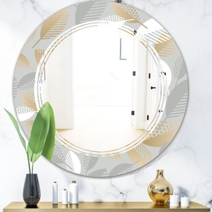 Triple C Luxury Geometric Fall Leaves Modern Wall Mirror