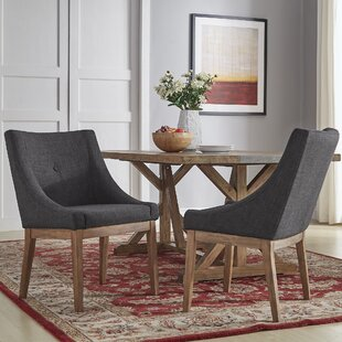 Tamarack Linen Upholstery Dining Chair (Set of 2) Three Posts