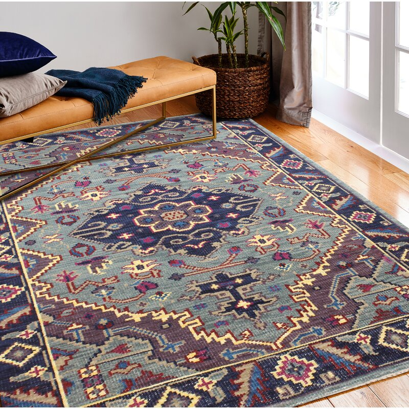 Mistana Kurtis Hand-Knotted Wool Teal Area Rug, Size: Rectangle 76 x 96