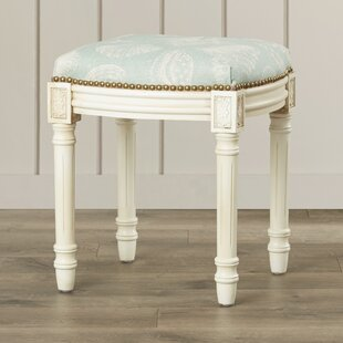 Coastal Seashells Linen Upholstered Vanity Stool