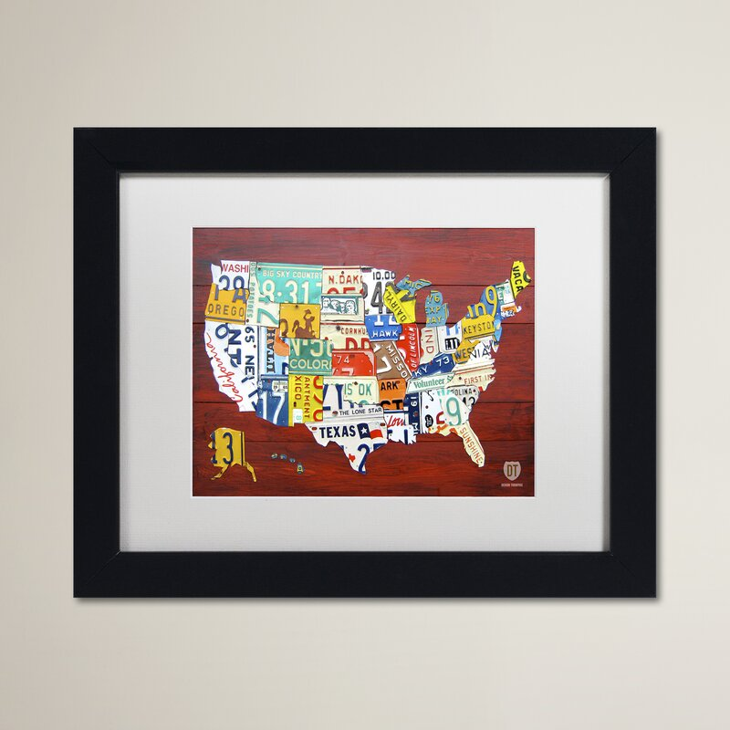 \'License Plate Map USA\' by Design Turnpike Framed Graphic Art on Canvas
