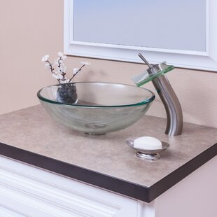 Check Prices Clear Glass Circular Vessel Bathroom Sink with Faucet By Topia