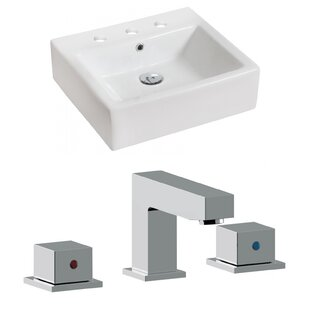 Ceramic Rectangular Vessel Bathroom Sink with Faucet and Overflow By Royal Purple Bath Kitchen