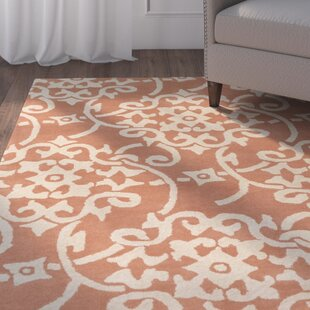 Affordable Price Millwood Hand-Tufted Peach/Cream Area Rug By Charlton Home