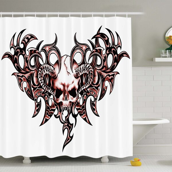 Ambesonne Tattoo Combined Hearts With Skull Eagle Wings Symbol Of The Brave Love Shower Curtain Set