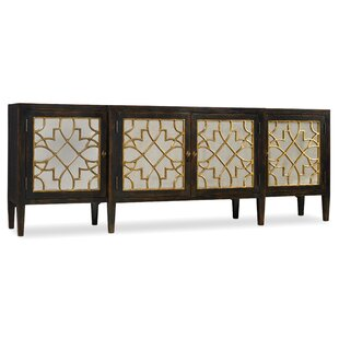 Living Room Sanctuary Four Door Mirrored Console Sideboard Hooker Furniture
