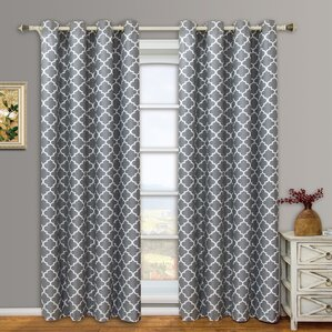 Scheuerman Geometric Blackout Grommet Curtain Panels (Set Of 2)