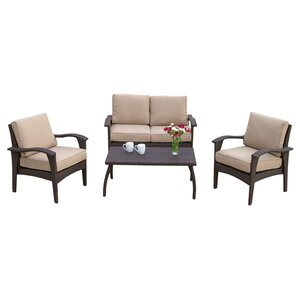 Guilford 4 Piece Rattan Sofa Set with Cushions