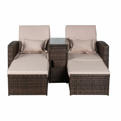 Americana 3 Piece Outdoor Rattan Wicker Chaise Lounge by Darby Home Co