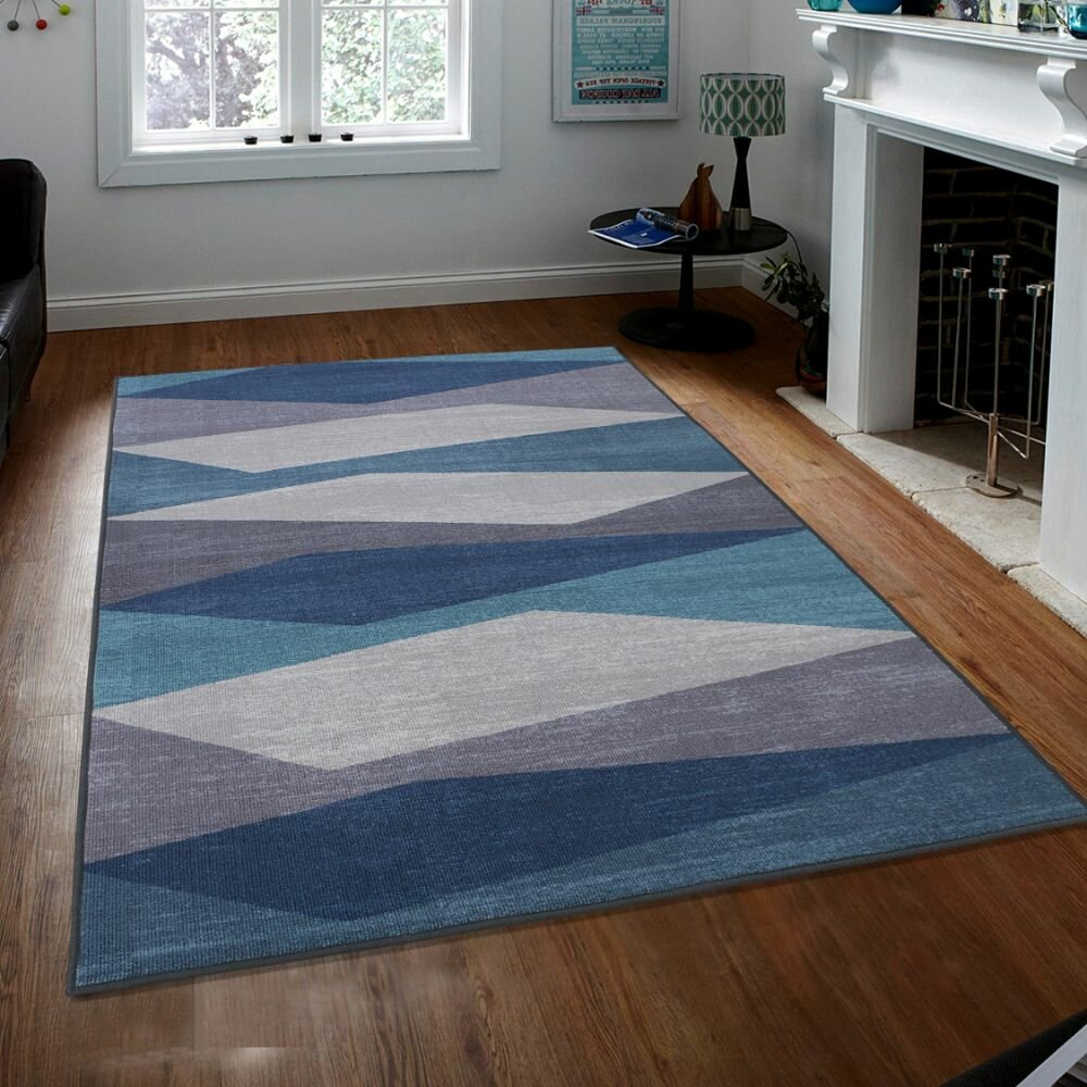 George Oliver Crafton Geometric Tufted Blue Area Rug Wayfair
