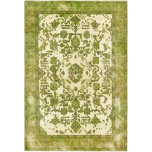Sela Vintage Persian Hand Woven Wool Rectangle Ivory Area Rug