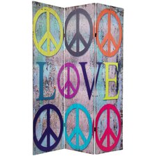 71.25 x 47.25 Double Sided Peace and Love 3 Panel Room Divider by Oriental Furniture