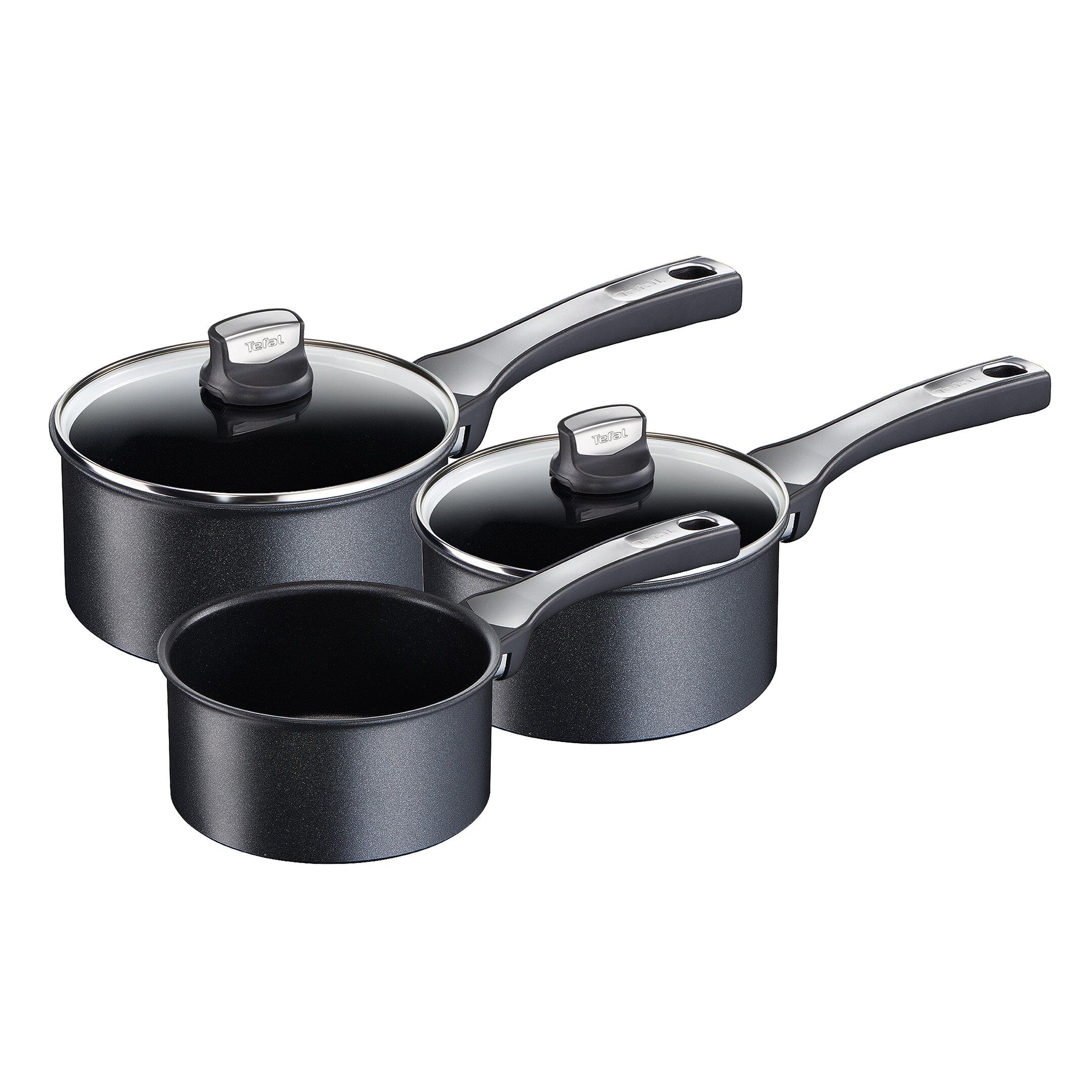 Black Tefal Ingenio Essential Non-stick Saucepan 18 cm