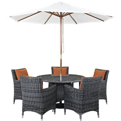 Alaia 7 Piece Rattan Sunbrella Dining Set with Cushions Cushion Color: Canvas Tuscan by Brayden Studio
