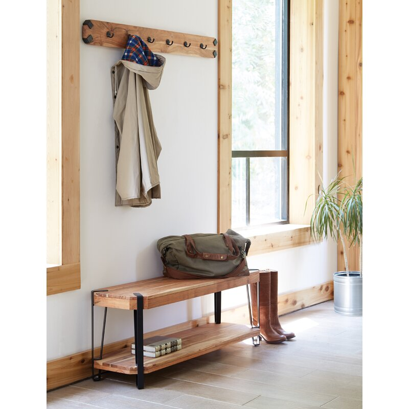 Union Rustic Tindal Wood Storage Bench with Coat Hook Set Hall
