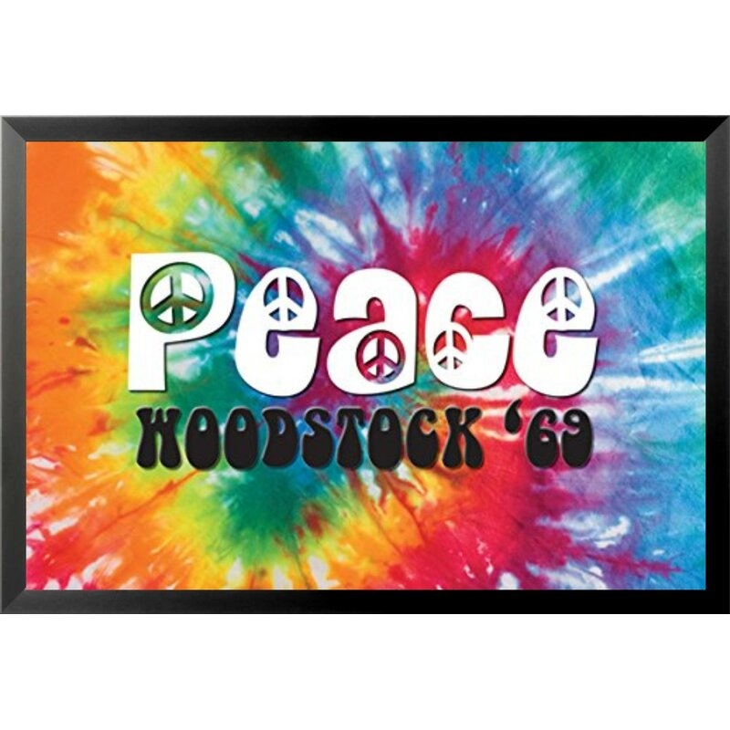 60's Peace Tie-Dyed Wall Art - Picture Frame Graphic Art