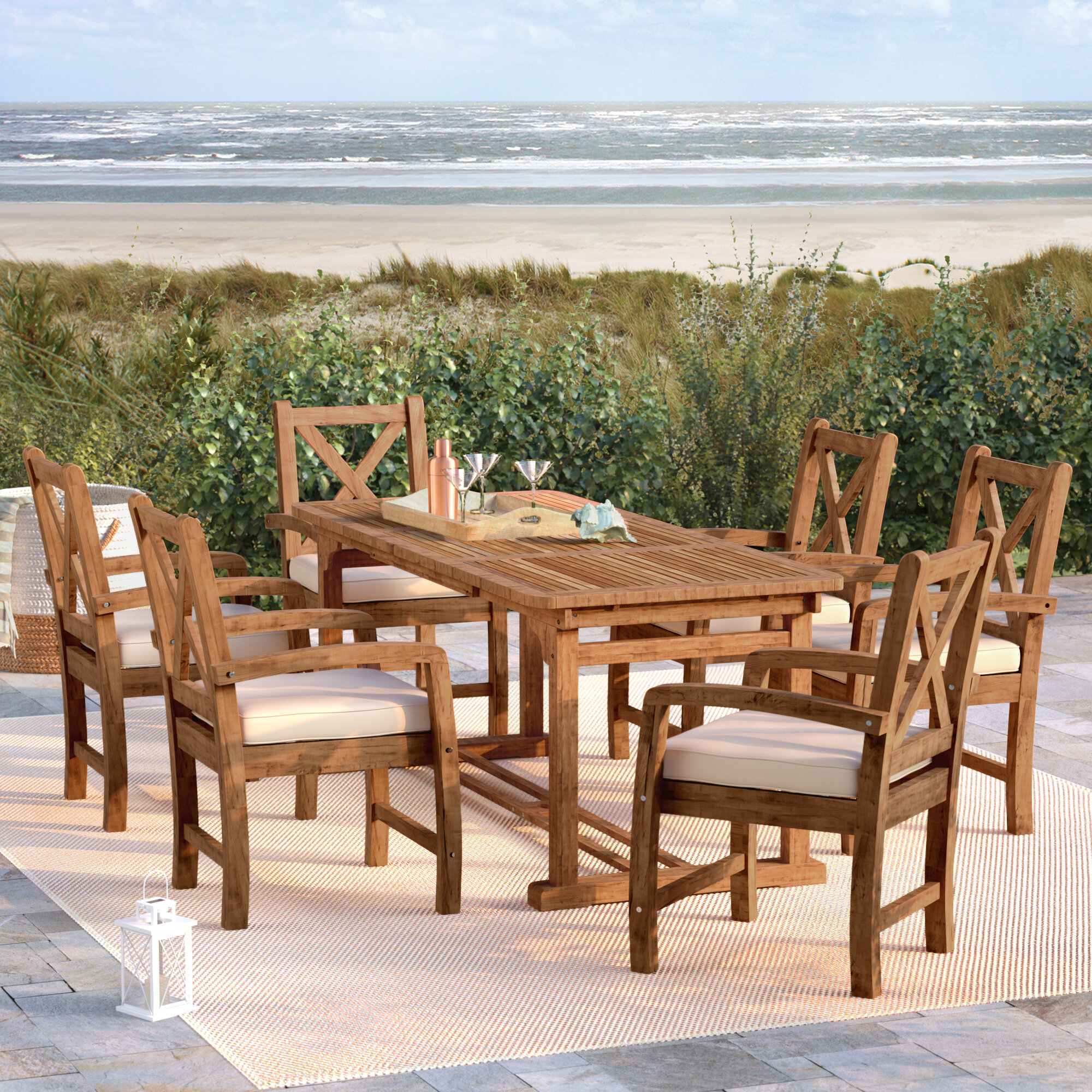 Rosecliff Heights Queensboro X Back Acacia Patio 7 Piece Dining Set With  Cushions U0026 Reviews | Wayfair