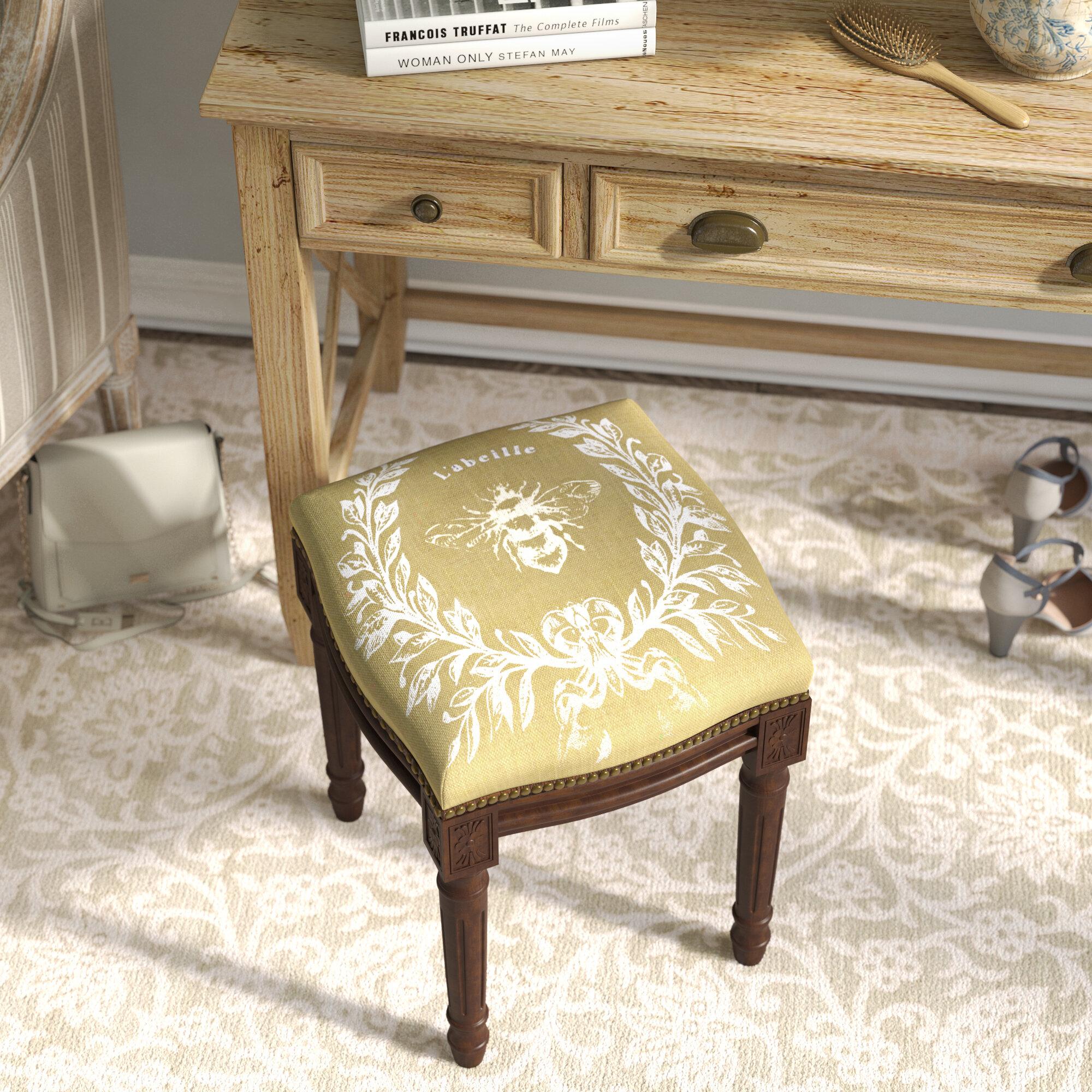 Lark Manor Clematite Napoleon Bee Linen Upholstered Vanity Stool