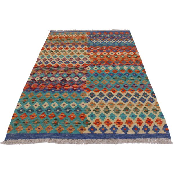 """Dollhouse mini handcrafted  fringed rug in shades of blue pattern 5 3//4/"""" x 9/"""""""