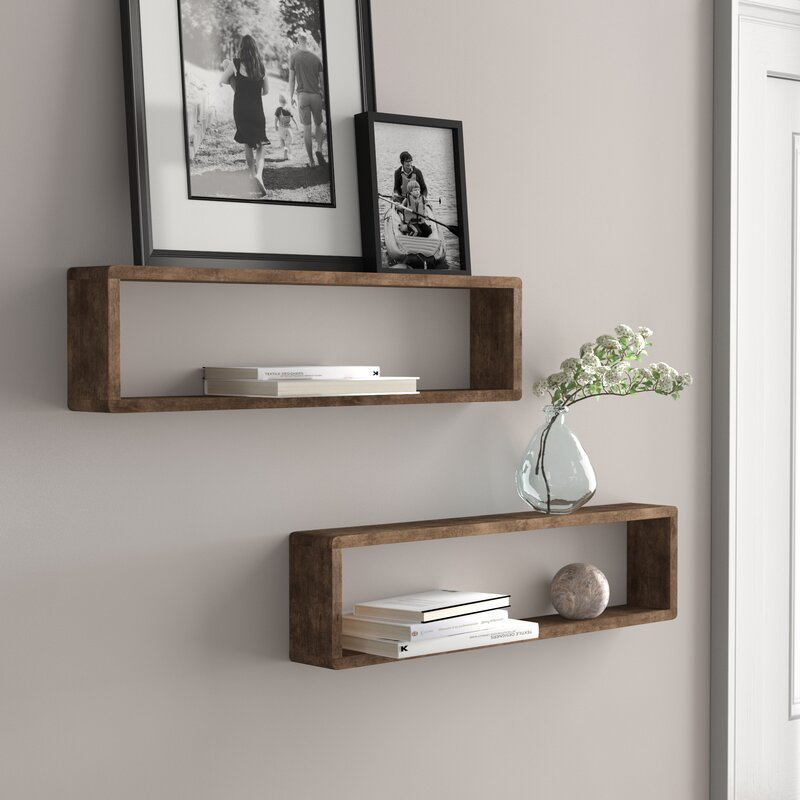 Hampden Stackable Long Box 2 Piece Wall Shelf Set by Three Posts