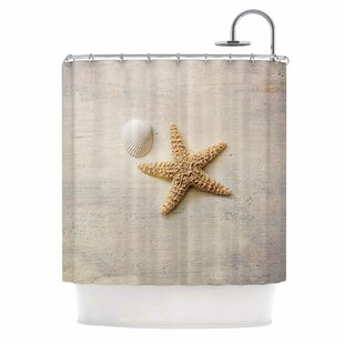 'Starfish and Shell' Single Shower Curtain