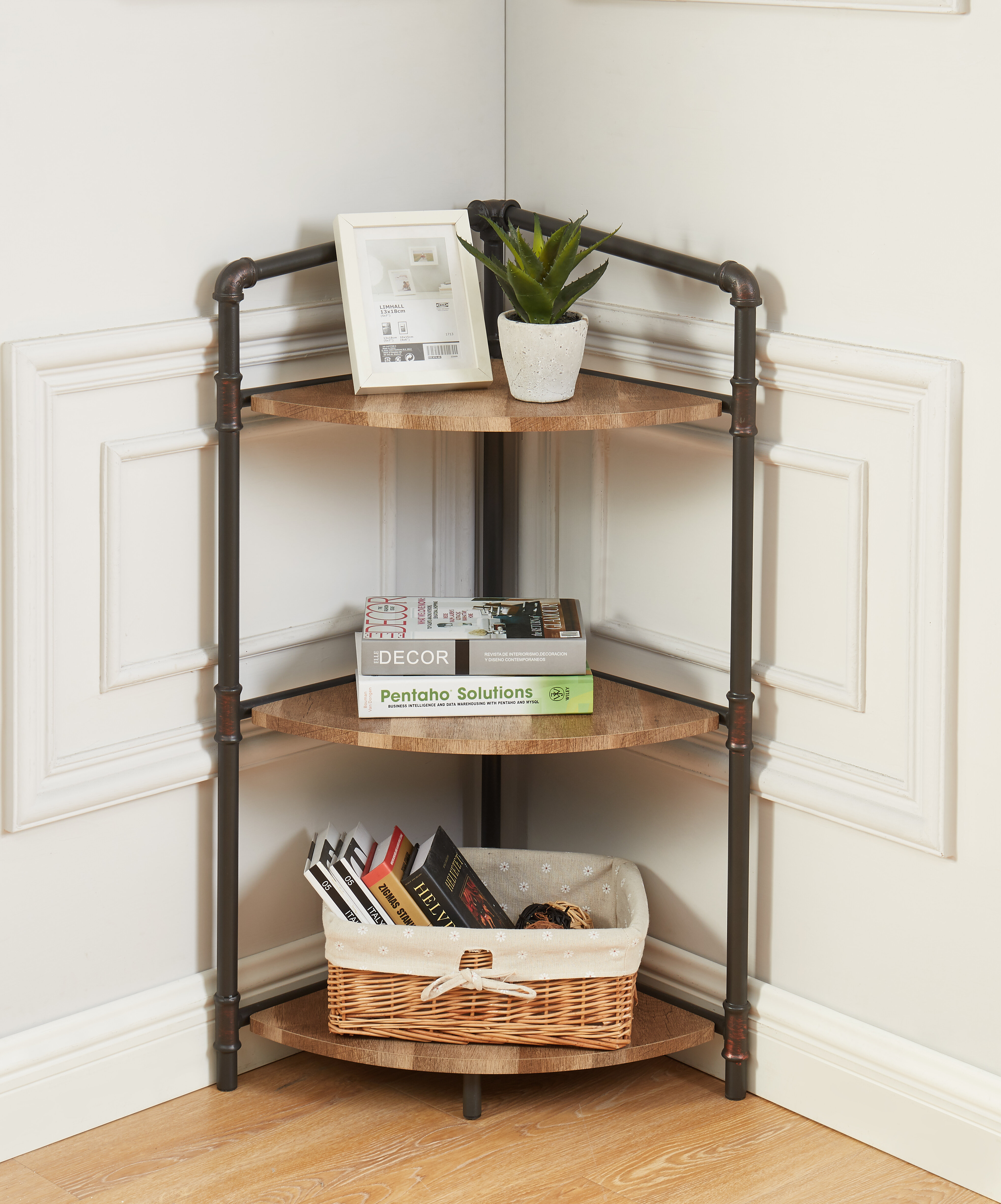 3 Shelf Bookcase Rustic Oak Small Bookshelf Short Wooden Compact Open Standard