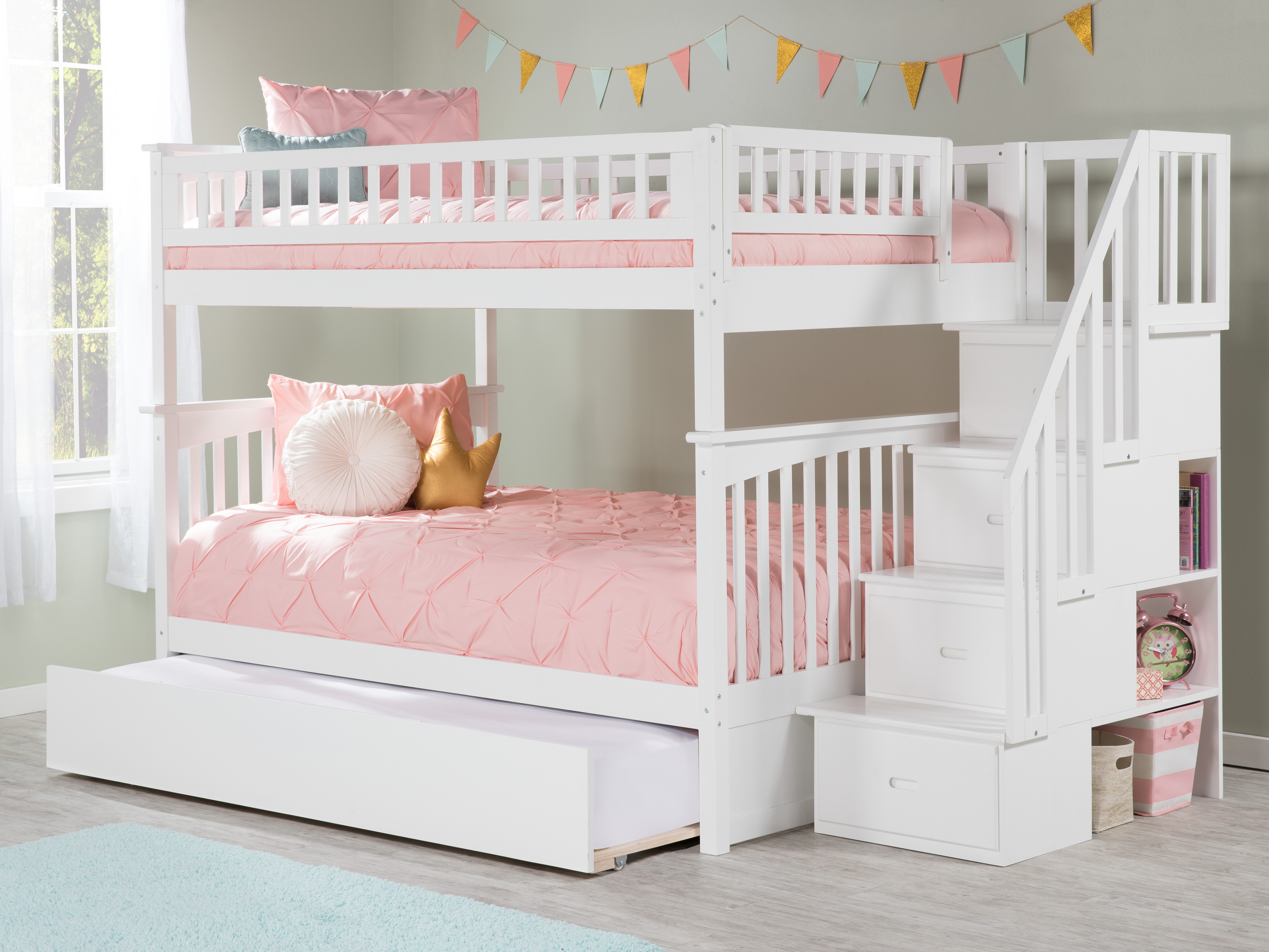 Harriet Bee Abel Staircase Full Over Full Bunk Bed With Trundle Reviews Wayfair
