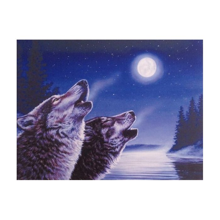 2 Piece Fairy Forest And Wolves Howling At Moon Illuminated Canvas Painting Wall Decor Set